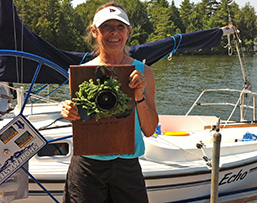 Sally Beck with the Milfoil Trophy