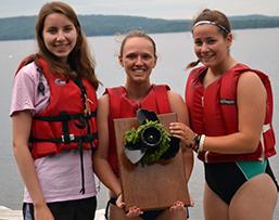 Camp Runoia girls with Milfoil Regatta trophy