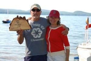 John Gibbs presents Sally Gibbs with the Hurricane Cup trophy