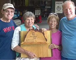 Bob Donnell, Sally Beck, Nancy Marden, and Chris Carey show of the Hurricane Cup 2016 trophy