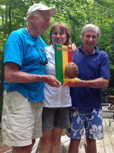 Dick Greenan, Gayle Davidson, and Peter McManus accept the GPYC Rasta Race 2014 trophy